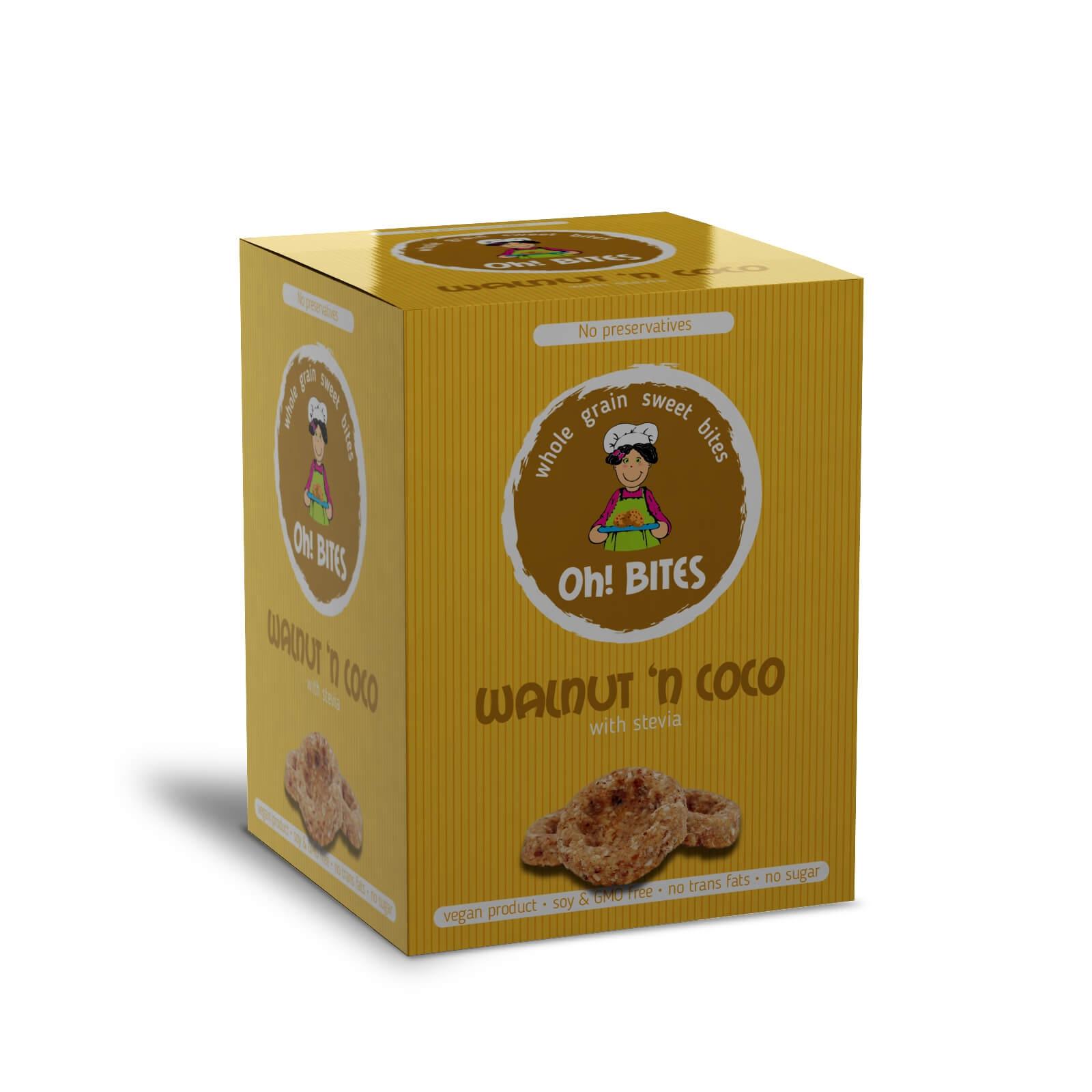 Сладки хапки - орех и кокос със стевия  85гр Oh! BITES