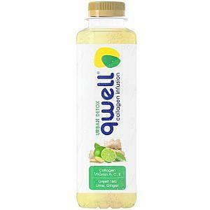 Безалкохолна напитка Qwell зелен чай лайм и джинджифил